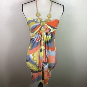 Sky Brand Fitted Mini Dress With Attached Necklace